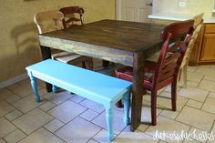 dining area makeover with DIY chalk paint