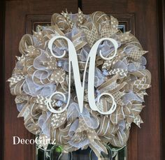 BURLAP and WHITE Wreath with INITIAL by decoglitz on Etsy