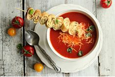Bea's cookbook: TOMATO SOUP WITH FRESH BASIL AND CHEESY PANCAKES