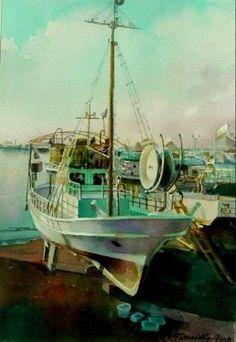 "a boat  at  K.Paphos -  a  water color  painting  by  Leonidas   Papasavvas /  έργο  σε  ακουαρέλλα  του  Λεωνίδα  Παπασάββα  -  ""η  βάρκα  του  Χαράλαμπου  Ποτονιά"""