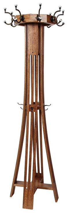 Amish Hardwood Slat Mission Hall Tree With Ten Hooks And Revolving Top