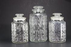 Vintage Clear Glass Canister Decorative Embossed Jars - Set of Three on Etsy, $45.00 Perfect for cookies, sugar, and flour.