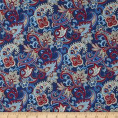 Summer Festival Paisley Blue from @fabricdotcom  Designed by Color Principle for Henry Glass, this fabric is perfect for quilting, apparel and home decor accents. Colors include ivory, tan, red and blue.