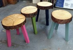 Stump Stools From Building Off the Grid Alaska Range on DIYNetwork | Ana White | Bloglovin'