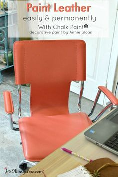 Paint any leather surface easily and permanently with Decorative Chalk paint by Annie Sloan. I changed the color of this chair and it looks amazing, just like when I brought it home from the store. See my easy tutorial H2OBungalow.com