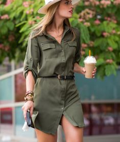 Women's Dresses - Green Long Sleeve Lapel Pockets Dress Best Picture For outfits vestidos For Your Taste You are lo - Safari Outfit Women, Safari Outfits, Safari Dress, Green Shirt Dress, Khaki Dress, Belted Dress, Dress Outfits, Casual Outfits, Fashion Outfits