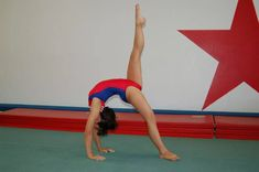 Do a bridge with one leg up to learn a back walkover - © 2009 Paula Tribble Learn Gymnastics At Home, Gymnastics Routines, Preschool Gymnastics, Gymnastics Tricks, Gymnastics Skills, Gymnastics Coaching, Gymnastics Workout, Gymnastics Photos, One Song Workouts