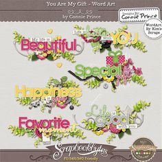 You Are My Gift - WordArt :: Kit Element Bits :: Kits & Bits :: SCRAPBOOK-BYTES from Designs by Connie Prince. Released Aug, 2014