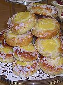 Skolebrod,  Norwegian School Bread - A Norwegian Recipe for School Bread, cardamon buns with vanilla pudding and sprinkled with coconut