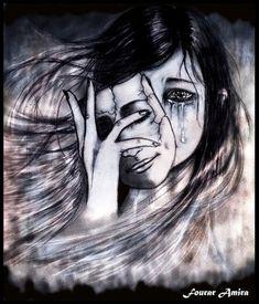 Hasil gambar untuk woman taking off mask of happiness drawing Sad Drawings, Dark Art Drawings, Depression Art, Dark Pictures, Sad Art, Pencil Art, Art Sketches, Amazing Art, Fantasy Art