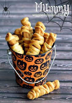 Mummy Wrapped Chicken Fries for Halloween - great for kids who don't like hot dogs! #halloween #halloweenfood