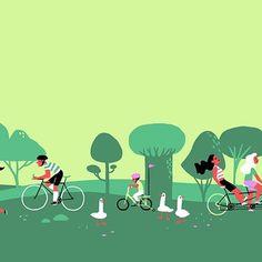Second part of the #spring #illustration #park #bike #ducks