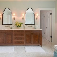 Custom Walnut Vanity & Marble Countertop - traditional - Bathroom - Other Metro - Jenni Leasia Design