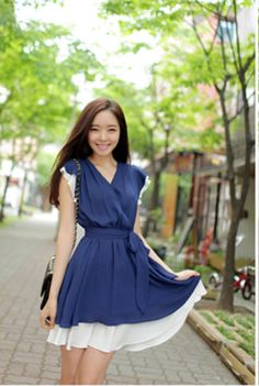 Korean Fashion Summer Outfit Chiffon V Neck Sleeveless Dress | eBay