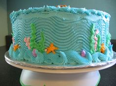 Pink and Teal: Mermaid Birthday Cake