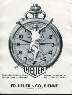 Vintage+1952+Heuer+Watch+Company+Switzerland+Original+1950s+Swiss+Ad+Suisse+Ed+Heuer+&+Co+Bienne
