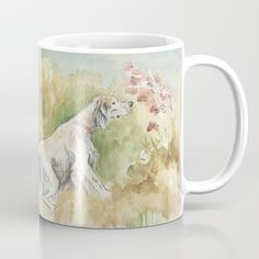 Available in 11 and 15 ounce sizes, our premium ceramic coffee mugs feature wrap-around art and large handles for easy gripping. Dishwasher and microwave safe, these cool coffee mugs will be your new favorite way to consume hot or cold beverages. English Setters, Hunting Dogs, Dog Portraits, Dog Art, Microwave, Fields, Watercolour, Dishwasher, Coffee Mugs