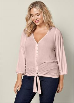 Venus Women's Plus Size Tie Front Button Up Top Tops - Pink , 1X