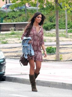 Sara Carbonero and Zara Suede Slouch Boots Photograph
