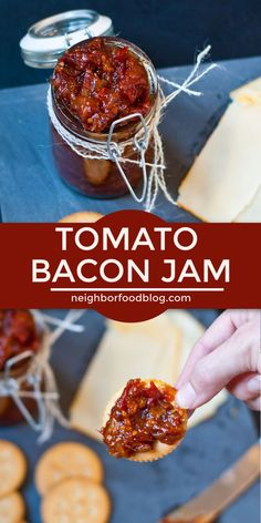 This sweet and savory Tomato Bacon Jam is the perfect way to preserve tomatoes! … This sweet and savory Tomato Bacon Jam is the perfect way to preserve tomatoes! It's absolutely delicious on sandwiches, biscuits, mac and cheese, and more! Jelly Recipes, Bacon Recipes, Jam Recipes, Canning Recipes, Canning Tips, Milk Recipes, Bacon Tomato Jam, Bacon Jam, Tomato Tomato