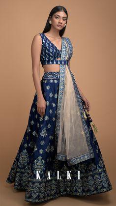 Navy blue lehenga choli in silk with foil printed buttis all over. Indian Lehenga, Lehenga Choli, Anarkali, Churidar, Dress Indian Style, Indian Dresses, Indian Wedding Outfits, Indian Outfits, Navy Blue Lehenga