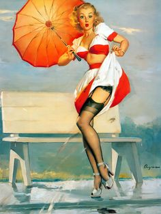 """""""I've Been Spotted"""" by Gil Elvgren, 1949"""