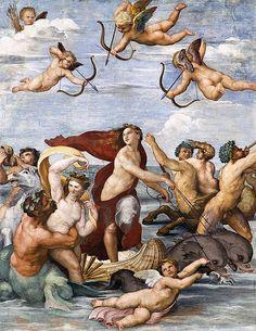 """""""Il Trionfo di Galatea"""" by Raffaello Sanzio da Urbino (1511) @ Villa Farnesina, Roma, Italy"""