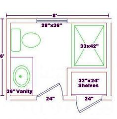 5ft x 8ft standard small bathroom floor plan with shower for Bathroom 8 x 8 layouts
