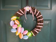 You have an Easter wreath for your door that is less than half the cost of a purchased wreath. Description from thegerbersandco.wordpress.com. I searched for this on bing.com/images