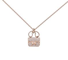 """Constance Charm Pendant Hermes pendant in rose gold with diamonds (0.29 ct). Adjustable from 15"""" to 15.75"""" long"""