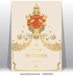 Wedding invitation card psd file free download wedding invitation indian wedding invitation card templates with gold lord ganesha patterned and crystals on paper color stopboris Images