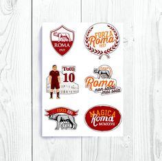 73dbc7a98f AS Roma Inspired Stickers Francesco Totti Daniele De Rossi Seria A ASR  Giallorossi Rome Italy Capitano Soccer Calcio Football Sport
