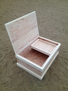 Unfinished short tack trunk with drawer.