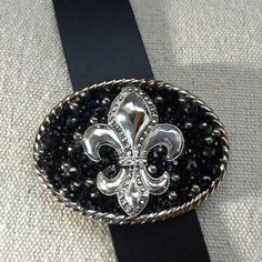 Black Beauty Fleur de Lis Belt Buckle by What The Buckle on Etsy.com