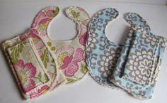 Baby Girl Bibs, Burp Cloths and Reusable Wipes-Amy Butler Fabric