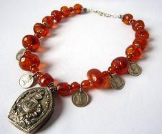 Baltic Amber Ethnic necklace Tibetan Prayer Box necklace