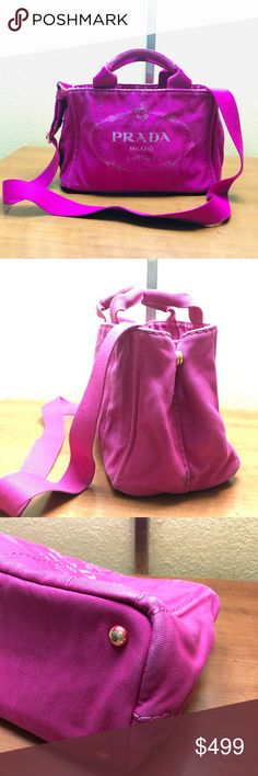 488ac1de2 PRADA - Canapa Authentic- Two way purse in Stunning Color. Normal Sign of  Usage