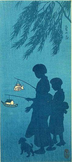 Blue with lantern woodblock