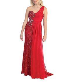 Red Lace Rhinestone Asymmetrical Gown & Shawl - Plus Too