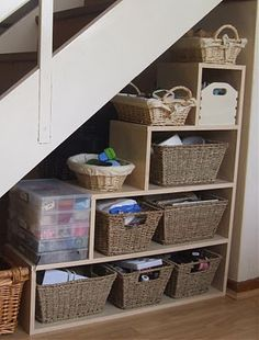 55 Genius Under Stairs Storage Ideas For Minimalist Home. Many of us live in houses that have an open area underneath the stairs. This often gets used for shoes or bags or maybe, if there is enough he. Staircase Storage, Basement Storage, Stair Storage, Basement Stairs, Staircase Design, Basement Ideas, Basement Decorating, Basement Kitchen, Basement Apartment