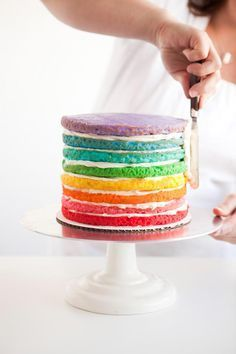 How to Make a Rainbow Cake - OneCharmingParty-DIY-Cake