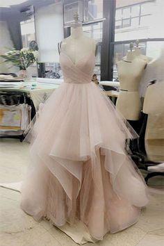 Simple v neck tulle long prom dress, tulle evening dress