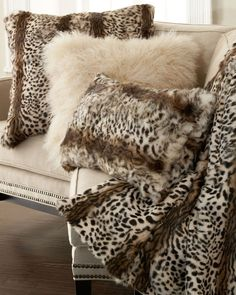 Adrienne Landau Light Leopard Animal Print Throw and Pillows