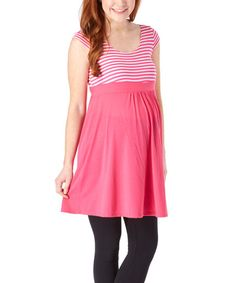 My Lil' Bump Pink & White Stripe Scoop Neck Maternity Tank Dress | zulily