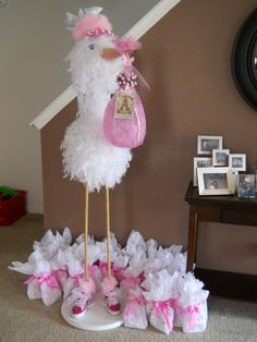 DIY stork for baby shower! - could shorten and make a chick or duck