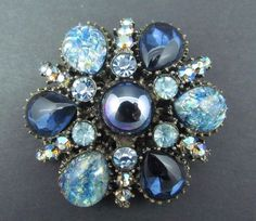 Vintage 1940's Heavy Pot Metal Foiled Art Glass Blue & AB Rhinestone Brooch Pin