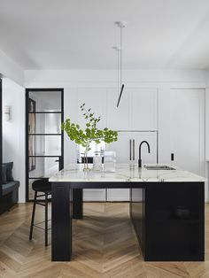 Watson House by Duet Outdoor Living Areas, Indoor Outdoor Living, Calcutta Marble, Chevron Floor, Tidy Kitchen, Interior Design Studio, Beautiful Kitchens, Home Renovation, Kitchen Design