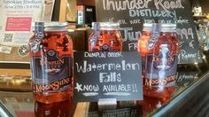 We're really excited to announce the release of new Watermelon Falls and Bonfire flavored #moonshine! Drop by for a free tasting, and grab some to take home, too! #Thunder Road #WhiskeyRunnersSpirit