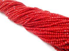 Cristal checo 4 mm, color rojo opaco claro,(especial), tira con 150 piezas, $26.00, Precio especial a mayoristas. CÓDIGO: CC4016