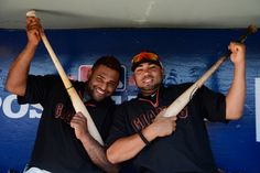 10/14/12. PABLO SANDOVAL and JOSE MIJARES goof around in the dugout during batting practice for Game One of the National League Championship Series against the St. Louis Cardinals at AT Park in San Francisco, California. (Photo by Thearon W. Henderson/Getty Images)